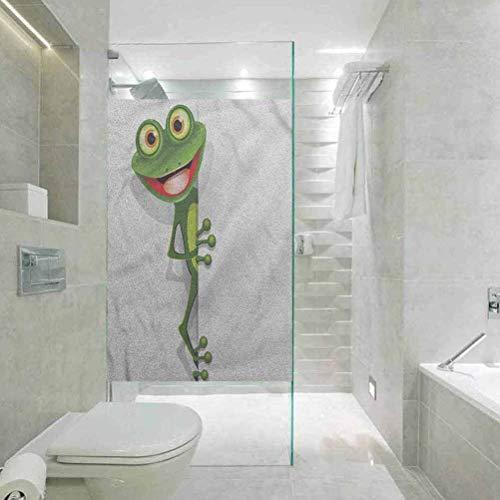 Fensterfolie, statische Glasfolie, Cartoon-Frosch und Gecko-Eidechse, für Zuhause, Glasfolie für Badezimmer, Meeting, Living Ro, 45 cm B x 89,9 cm L