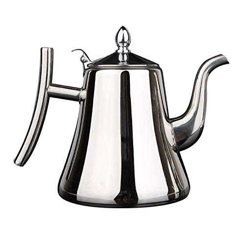 JanIST Stainless Steel Water Kettle TeaPot Thicker with Filter Hotel Tea Pot Coffee Pot Induction Cooker Tea Kettle Gold Silver 1.5Lsilver