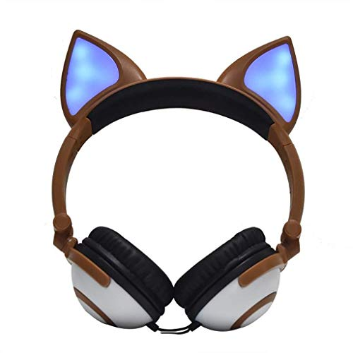WHSS Gaming Headset Faltbare Flashing Glühender Kopfhörer Gaming Headset Kopfhörer Mit LED-Licht for Handys, Tablet PC, Notebook (schwarz) (Color : Brown)