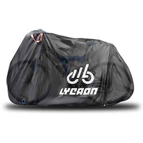 LYCAON Fundas para Bicicletas, 210D Poly Fabric UV Protection Impermeable Anti Dust Bike Rain Cover para Bicicletas de Carretera de Montaña, con Bolsa de Almacenamiento (For 26 Inch Bike/Negro)