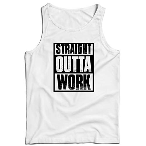 lepni.me Camisetas de Tirantes para Hombre La cuarentena de la Oficina promovida Directamente Fuera del Trabajo (X-Large Blanco Multicolor)