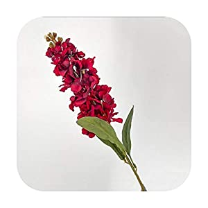 F-pump Autumn Silk Hyacinth Artificial Flowers Violet Wedding Simulation Flower Branch Delphinium Home Decoration Fake Gladiolus-Red-