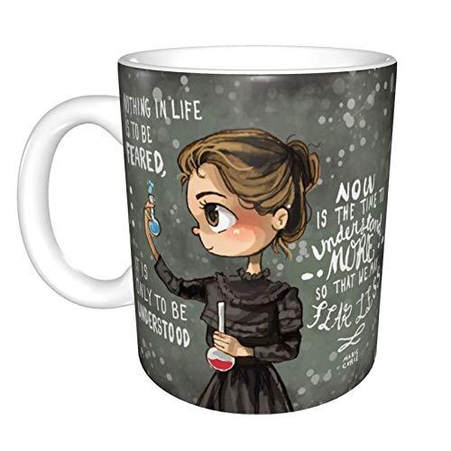 Hdadwy Taza de café de cerámica divertida única de Marie Curie, taza de té de café de oficina en casa para regalo de Festival de novedad