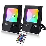 【Proiettore colorato】 Il nostro proiettore LED 30W RGB ha 16 colori e 4 modalità, 2250 lumen, radiocomando con funzione di memoria. Queste luci d'atmosfera sono adatte per feste e piccoli concerti, sia in giardino che a casa.