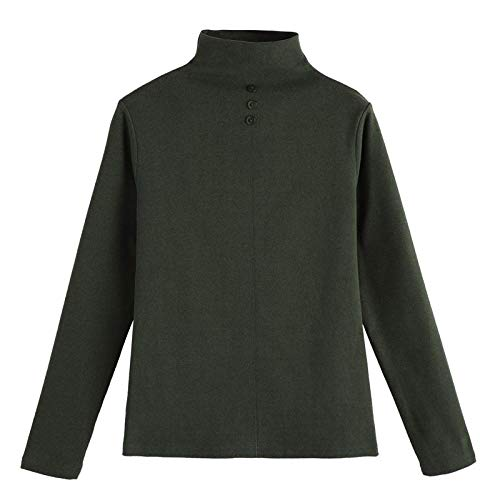 Suelto Prendas De Punto Suéters-3Xl Mujer Cuello Alto 95% Algodón Manga Larga Jersey Femenino Otoño Invierno Elegante Suave Jerseys Pull Femme-Verde Ysk233_S.