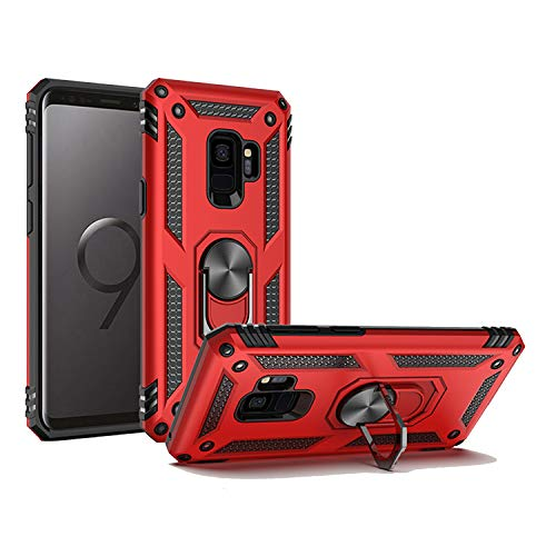 Reejax Galaxy S9 Plus Case,Rugged Durable Shockproof Cover with Magnetic Ring Kickstand Protective Phone Case for Samsung Galaxy S9 Plus Red
