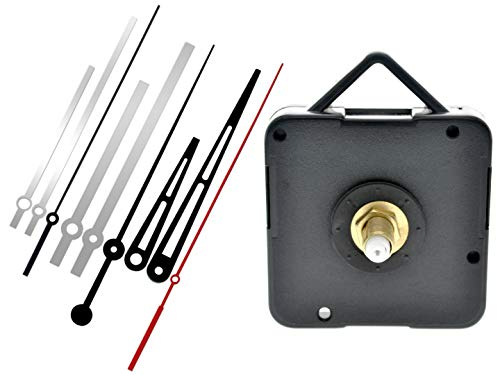 229 Mystic Quartz Wall Clock Step Movement Mechanism | 18 mm Threaded Shaft Length | DIY Replacement or Repair Parts | 3 Sets of Hands Included (Modern)