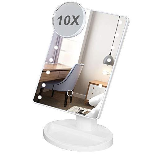 YOODI Beleuchteter Schminkspiegel Tischspiegel Schminkspiegel Einstellbar Mit Leichtem Lighted Makeup Mirror Vanity Mirror with 16pcs Big Bulb Lights (Mit 10X Spiegel)