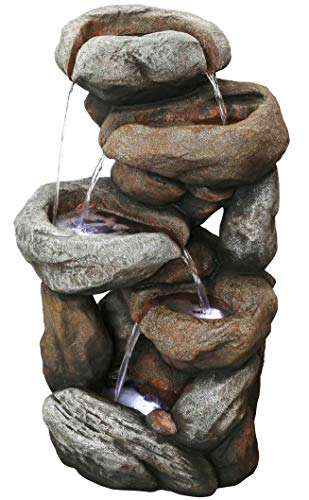 Sedona Rock Waterfall Fountain w/LED Lights: 32' Outdoor Water Feature for Gardens & Patios. Hand-Crafted Design and Adjustable Pump. HF-R28-32L