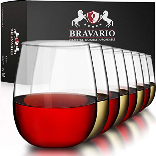 Bravario Unbreakable Stemless Plastic Wine Glasses | Shatterproof 100% Tritan | Dishwasher-Safe | BPA-free | Awesome for Outdoor Pool Parties Camping | 16 oz, Set of 8