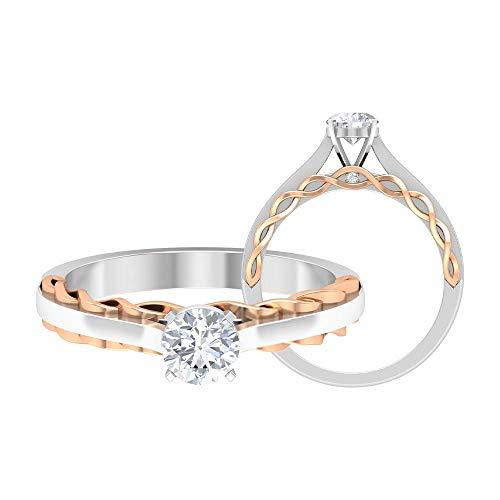 Anillo de compromiso de dos tonos, 1/2 quilates redondos D-VSSI moissanite, anillo de promesa solitario de 5 mm, anillo de oro sólido francés, 14K Oro rosa, Moissanita, Size:EU 52