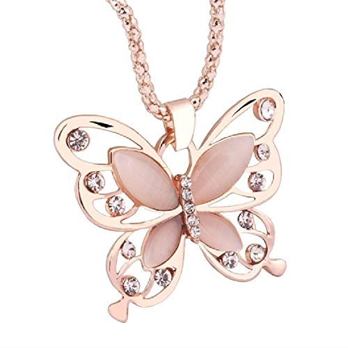 LYRSRX Sweater Chain Wild Butterfly Opal Flash Hollow Drill Long Section Clothing Accessories