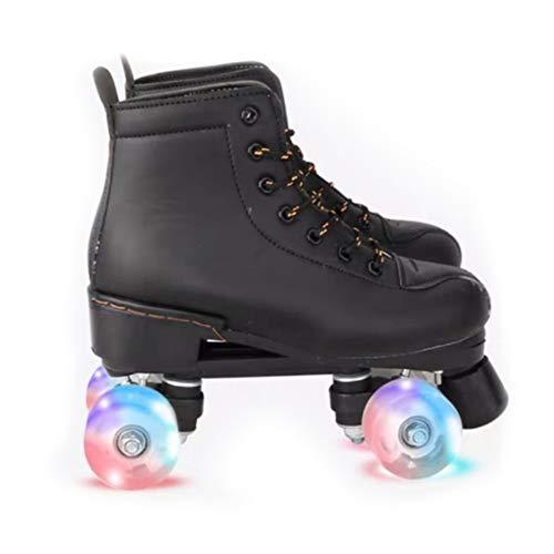 MLyzhe Klassisch Quad Künstlerisch Walze Rollschuhe Mit 8 Radbeleuchtung Für Erwachsene Und Jugendliche Leder Schuhe Für Drinnen Und Draußen,Schwarz,42