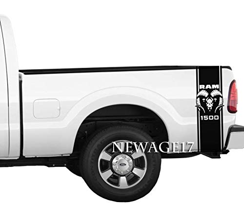 Ram Head Rear Bed Stripes Pickup Truck Vinyl Decals Stickers Set of 2 Racing (Black)