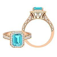 スイスブルートパーズとモアッサナイト付き3カラットゴールドミルグレインリング、ハロー婚約指輪(7X9mm 八角形カットスイスブルートパーズ), 14K ローズゴールド, Size: 9