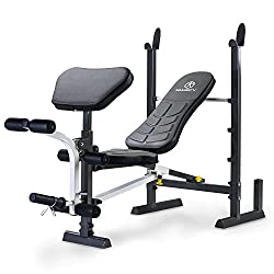 Adjustable: Four-position pad adjusts to incline, flat and decline; quick fold design: folds the bench in half; 14-gauge thick steel frame Arm curl pad: Three heights align your arms ideally; leg developer: aligned for a natural feel; leg lock: fixes...
