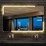 ZQ- Espejo de baño montado en la Pared, Espejo de baño Inteligente con música Bluetooth, con Pantalla de Temperatura, película antivaho, Espejo de baño sin Marco con luz led ^_^