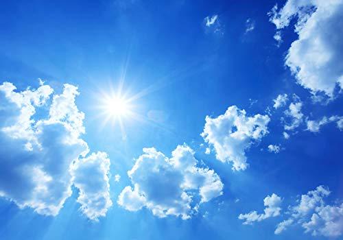 wandmotiv24 Fototapete Sommerhimmel, L 300 x 210 cm - 6 Teile, Fototapeten, Wandbild, Motivtapeten, Vlies-Tapeten, Himmelblau, Wolken, Sonne M0353