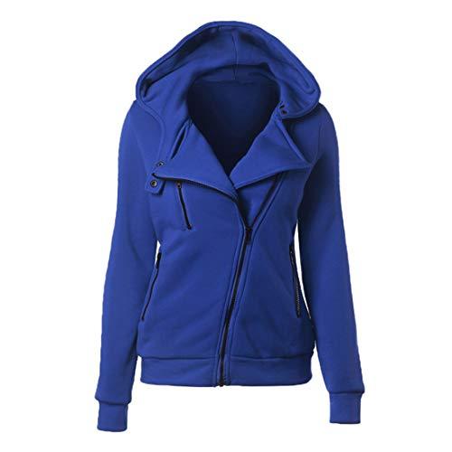 YJNH Damen Full Zip Hooded Outwear Einfarbig Slim-Fit Gemütlich Winddichte Sportjacke Winter All-Match Outdoor Wander Trekking Sweatshirt XXL