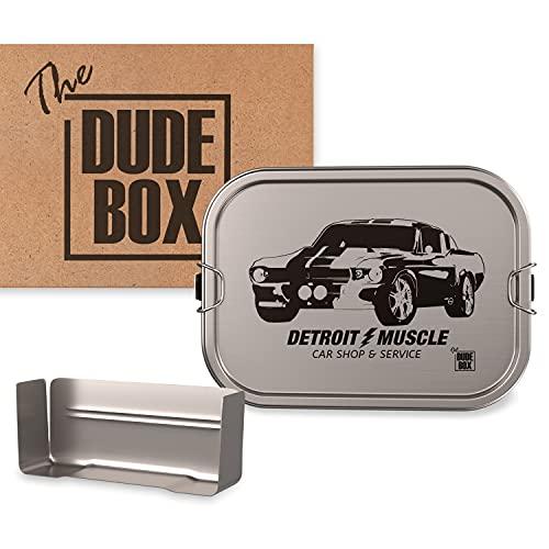 DUDE BOX Brotdose Edelstahl 1200ml | Lunch Box mit Trennwand | auslaufsicher & nachhaltig | Bento Box (Detroit)