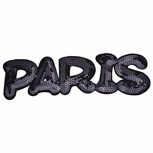 Oyfel Patch Ecusson Brodé Thermocollant Couture Main Coudre Art Lot Paris Noir et Blanc