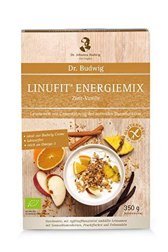 Dr. Budwig Linufit Energiemix Zimt-Vanille - Das Original - Naturbelassene, geschrotete mit Apfelsaftkonzentrat ummantelte Leinsamen - Mit Sonnenblumenkernen und natursüßen Erdmandeln, 350 g