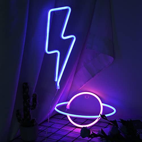 mreechan Luces de neón,Blue Lightning Neonlicht y Planet Neon Signs,Batería o USB Accionado,luces azules ideales para el hogar, habitación de los niños, bares, fiestas, Navidad, bodas