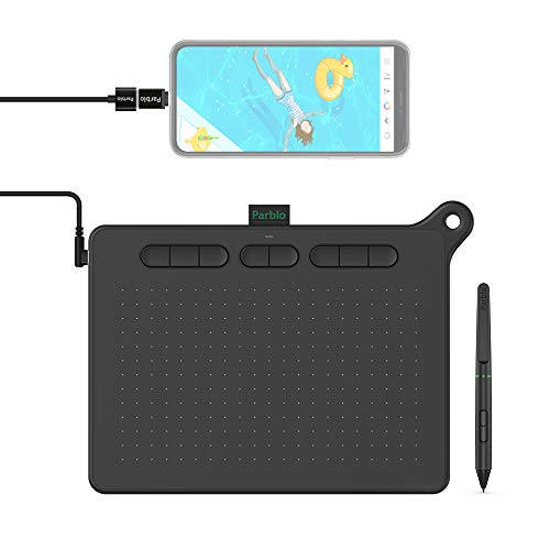 Parblo Ninos M Tableta Gráfica para Digital Dibujar, Pintar, 9X5 Pulgadas 8192 Niveles para OSU, Oficina en casa y e-Learning, con lápiz sin batería, Compatible con Android/Windows/Mac, Negra