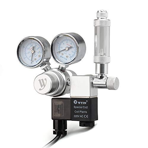Decdeal Régulateur de CO2 de l'aquarium 12V, régulateur de Pression de CO2 avec Le Compteur de Bulles et Le clapet Anti-Retour à Double jauge de Pression de solénoïde pour Le Cylindre de CO2 Aluminun