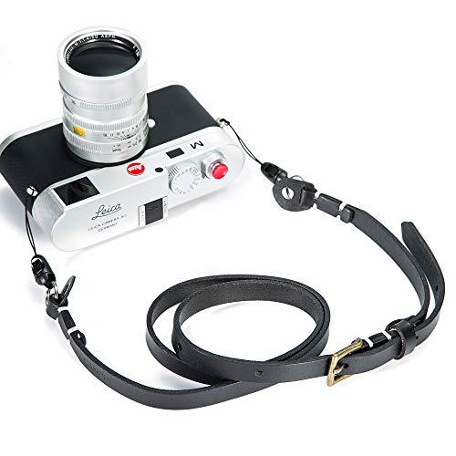 CANPIS Genuina de cuero hecha a mano hombro de la cámara Correa ajustable para Nikon Canon Sony Pentax Leica Olympus Fuji Nuevo, Negro