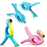 Nerjan 6PCS Beach Towel Clips Outdoor Fashion Style Flamingo Towel Holders for Pool Chairs or Fence During Your Cruise-Jumbo Size to Keep Your Cloth or Towel from Blowing.