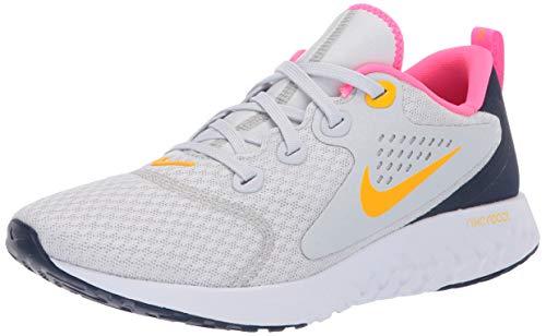 Nike Women's Legend React Running Shoes (Pure Platinum/Laser Orange/Midnight Navy)(6 (B) US)