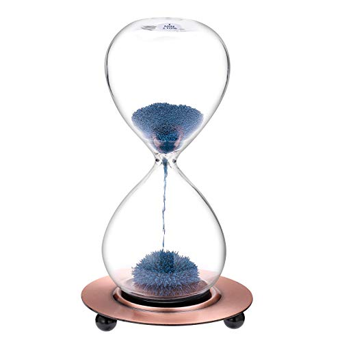 SuLiao Magnetic Hourglass 1 Minute Sand Timer: Large Sand Clock One Minute with Blue Magnet Iron Powder & Metal Base, Sand Watch 1 Min, Hand-Blown Hour Glass Sandglass for Office Desk Home Decor