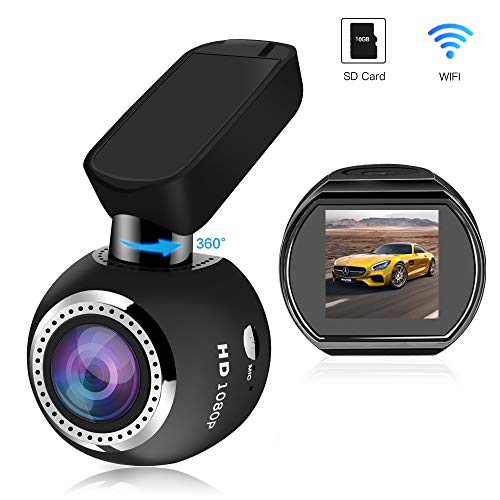 WiFi Dash Camera, SIV Car Dash Cam Full HD 1080P Car Camera Recorder, Car Mini Dash Cam with 1.54' LCD 170° Wide Angle, 360° Rotate Mount, Sony Sensor, G-Sensor, WDR,Loop Recording(Include TF Card)
