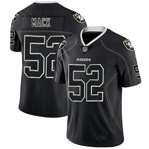 Khalil Mack # 52 American Football Trikot | Las Vegas Raiders Herren Fußballtrikot | Sweatshirt, atmungsaktive American Football Sportswear-Black-XL