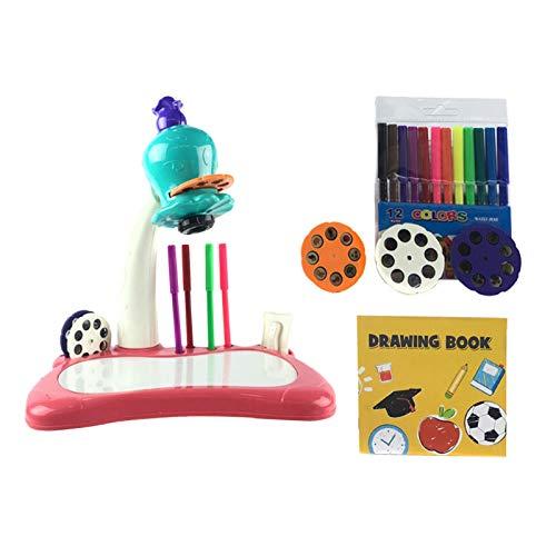 Juego de pintura de proyector de tabla de dibujo para niños, juguete de doodle, escritorio de aprendizaje para niños con proyector inteligente, juguete educativo regalo