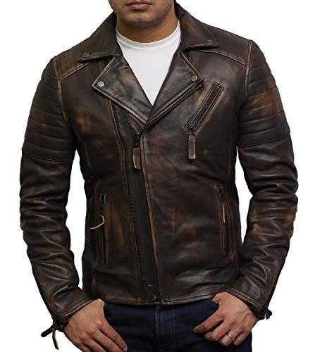 BRANDSLOCK Genuino de los Hombres del Motorista del Cuero de la Chaqueta Slim Fit Cruz Zip Retro Vintage Brown Brando Frotar Off