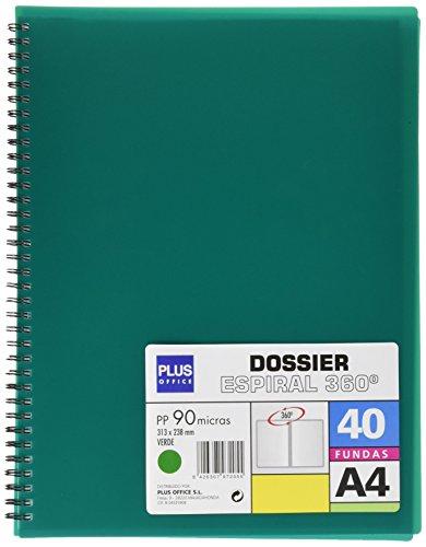 Plus Office 13461-40-GN – Carpeta con 40 fundas y espiral, color verde