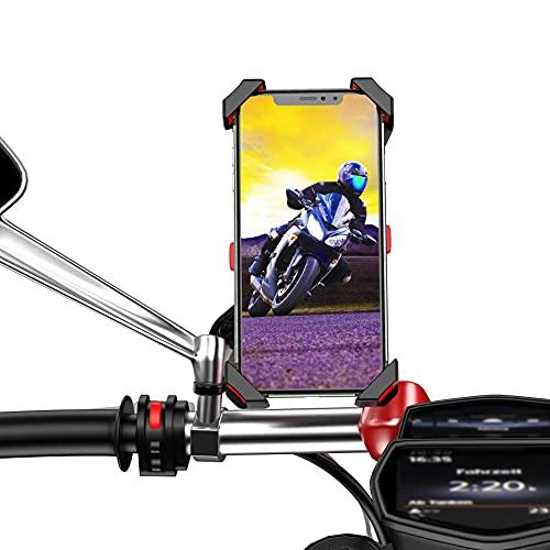 Soporte movil Moto Scooter sujecion al Espejo retrovisor en Acero Inoxidable 360º Soporte móvil Moto Soporte de movil para Moto valido para Smartphones hasta 7.5