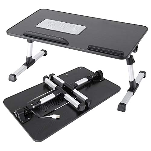 [Uk in Stock ] CatheNice Lapdesks - Lapdesk Adjustable Latop Table, Portable Standing Bed Desk, Foldable Sofa Breakfast Tray, Notebook Computer Stand for Reading and Writing – Black