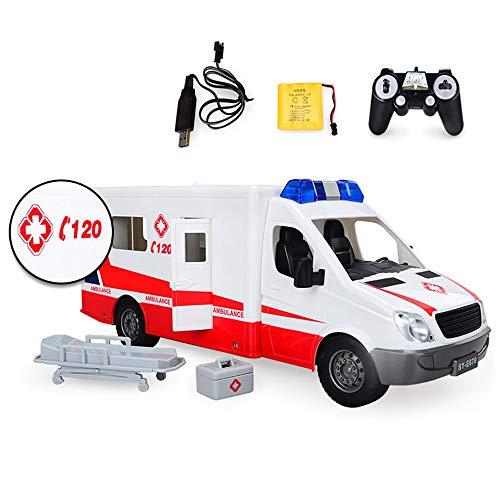 S2F5 RC niños sin Hilos del Coche eléctrico de Control Remoto Ambulancia Rescate Infantil el Coche policía Doctor de la Ambulancia de Juguete Modelo de simulación de Sonido de luz 01:18 Niños y niñas