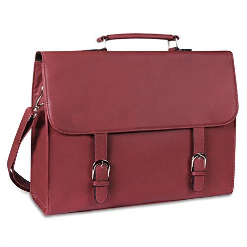 Estarer Aktentasche Damen aus PU- Leder Laptoptasche 15,6 Zoll für Arbeit Uni Handtasche Wein Rot