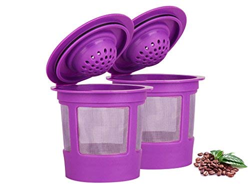 Maxware 2 Reusable Refillable Coffee Filters For Keurig Family 2.0 and 1.0 Brewers Fits K200, K300/K350/K360, K450/K460, K500/K550/K560/K575 (Purple, 2)