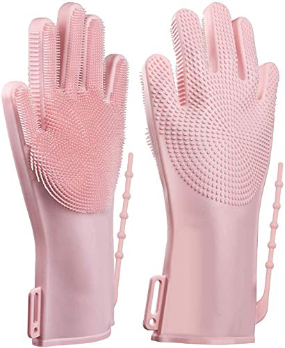 ALCIONO Guantes ajustables para lavar platos, guantes de limpieza de silicona reutilizables con fregador, guantes de goma para cocina, guantes de limpieza para fregar (1 unidad) (rosa)