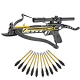 KingsArchery Crossbow Self-Cocking 80 LBS with Hunting Scope, and a Total of 15 Aluminim Arrow Bolts Warranty
