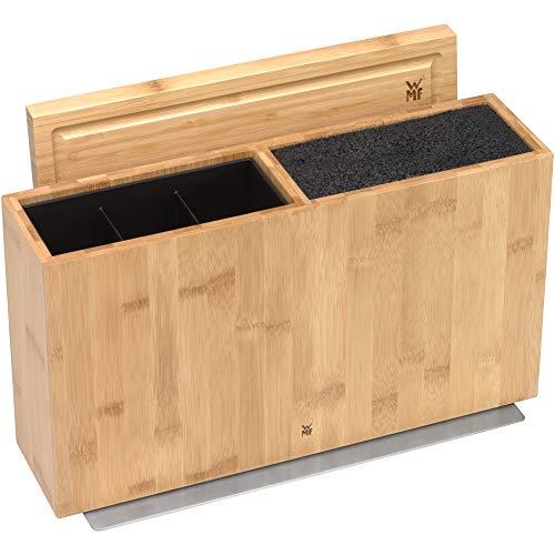 WMF 3in1 All-in-one Block, Messerblock unbestückt für 3-4 Messer, Utensilienhalter für Küchenhelfer, Toolbox, Schneidebrett, Holz, Bambus, Kunststoff-Bürsteneinsatz