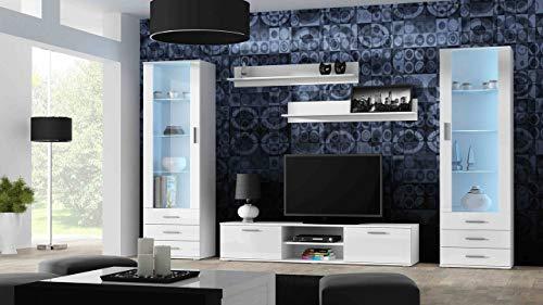 Wohnwand SOHO 4 mit Blauer LED Beleuchtung, Anbauwand, Wohnzimmerschrank, Schrankwand, Vitrine, Lowboard, Hängeregal (Weiß/Weiß Hochglanz)