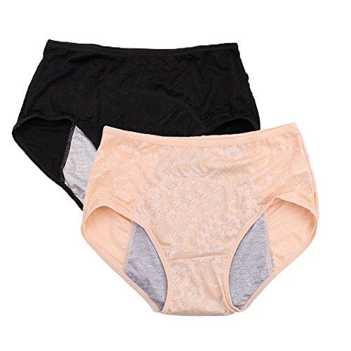 YOYI FASHION Women Menstrual Period Briefs Jacquard Easy Clean Panties US Size 3XL/10 Black Nude