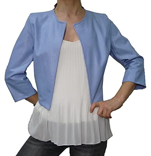 Bolerò Blaser - Bolerò - Bolerò - Bolerò - Bolerò de piel sintética, estilo casual, para mujer y niña, manga 3/4 de colores azul celeste Talla única