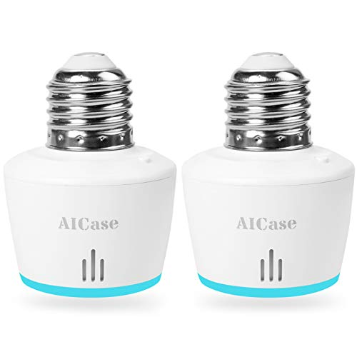 Smart WiFi E27 Light socket, Aicase Intelligent WLAN [2 pezzi] Home Remote Control Light Lamp Bulb Holder Works with ALEXA e Google Home-white (Smart WiFi E27 Light socket)